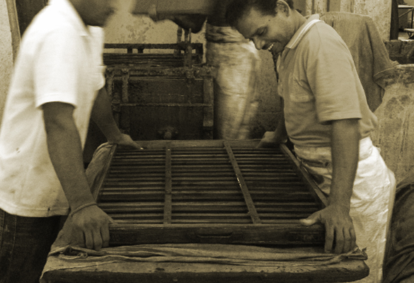Sri Aurobindo Handmade Paper factory - paper lifting