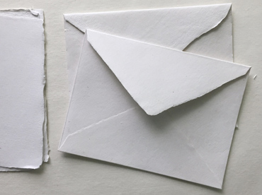 "Handmade deckle edge cotton rag envelopes in 5.25"" x 7.25"""